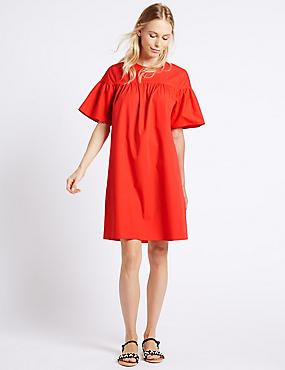 Pure Cotton Flared Sleeve Tunic Dress