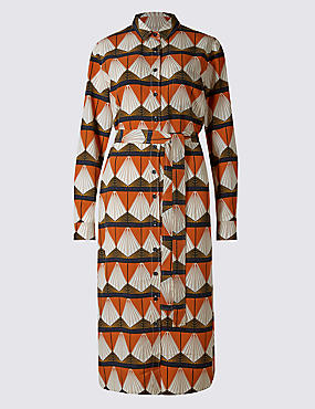 Geometric Print Shirt Dress with Belt