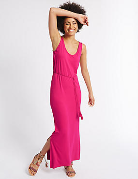 Tie Front Side Split Maxi Dress