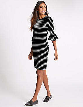 Frill Cuff Striped 3/4 Sleeve Tunic Dress