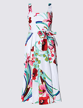 Cotton Rich Printed Skater Dress with Belt