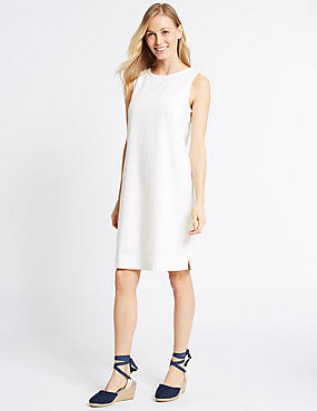 Linen Blend Scallop Neck Tunic Dress