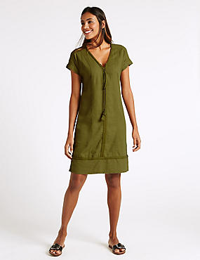 Linen Blend Drawstring Tassel Shift Dress