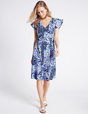 Poppy Floral Print Short Sleeve Swing Dress