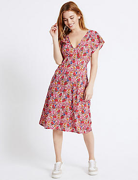 PETITE Printed Tie Back Flare Swing Dress