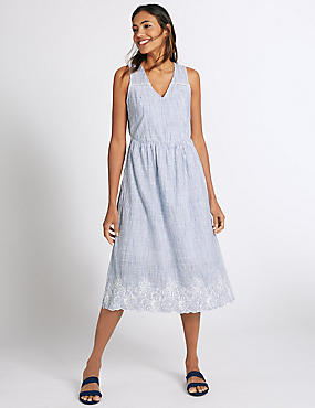 Pure Cotton Embroidered Skater Dress