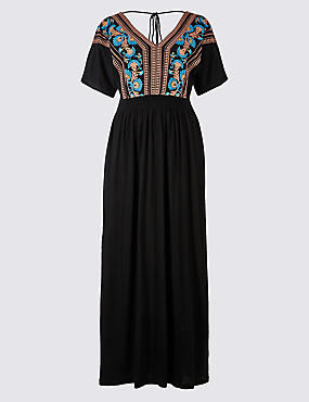 Cotton Rich Embroidered Tie Back Maxi Dress