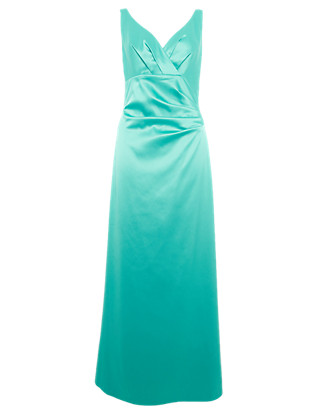 Crossover V-Neck Pleated Maxi Dress ONLINE ONLY Clothing