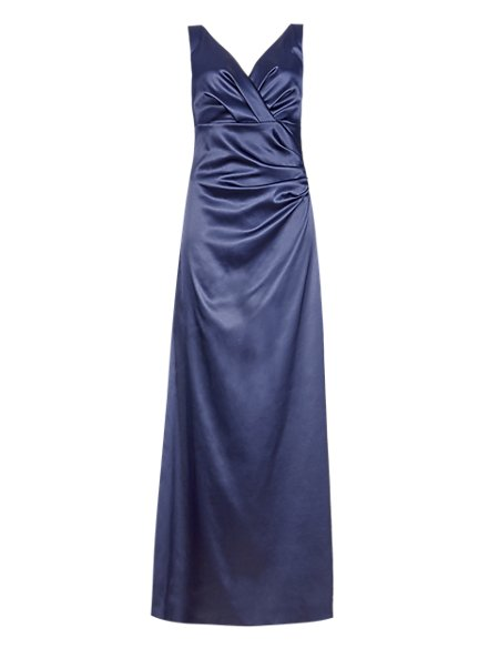 V-Neck Pleated Waist Satin Maxi Bridesmaid Dress ONLINE ONLY