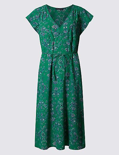 floral print tie detail swing dress mamps