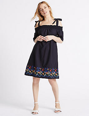PETITE Pure Cotton Bardot Swing Dress