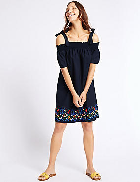 Pure Cotton Embroidered Smock Swing Dress