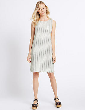 Linen Rich Striped Tunic Dress