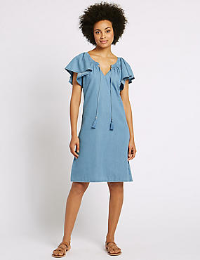 Cotton Rich Flutter Sleeve Swing Dress