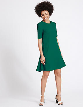 Woven Half Sleeve Swing Dress