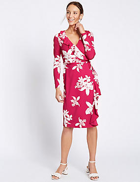 Floral Print Wrap Tie Front Shift Dress