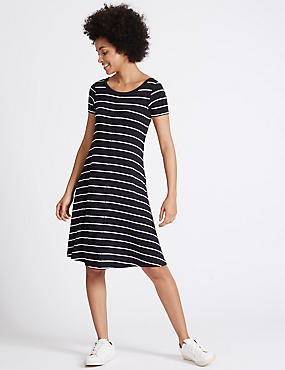 Striped Window Back Skater Dress