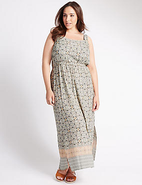 PLUS Geometric Tile Print Maxi Dress