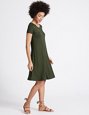 Window Back Short Sleeve Skater Dress