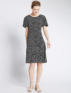Spotted Crêpe Fit & Flare Tea Dress