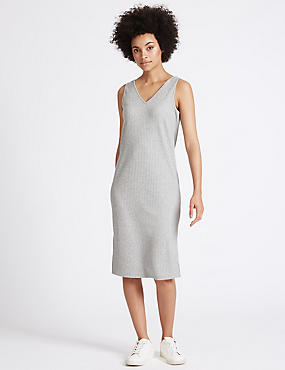 Ribbed Side Split Midi Dress