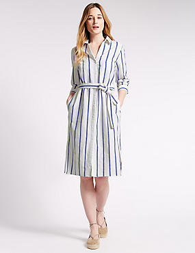 Linen Blend Striped Tailored Fit Midi Shirt Dress