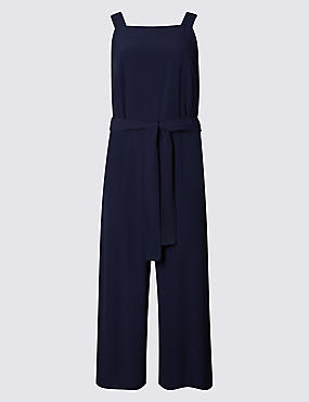 Tailored Fit Culottes Belted Jumpsuit