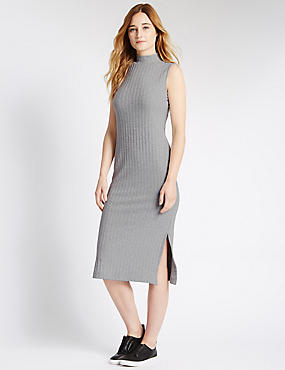 Tailored fit Turtle Neck Midi Dress