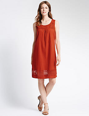 Tailored Fit Lace Shift Dress with Linen