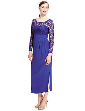 Lace Panel Drape Waist Maxi Dress