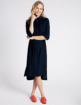 Turn Up 3/4 Sleeve Shirt Dress with Belt