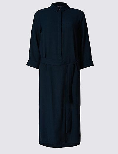 turn up 34 sleeve shirt dress with belt mamps