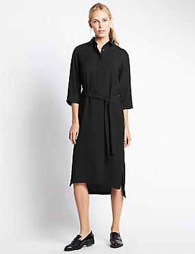 3/4 Sleeve Shirt Dress with Belt