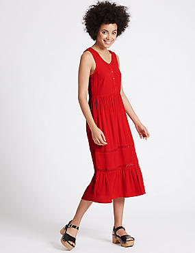 Lace Trim Tiered Shift Midi Dress