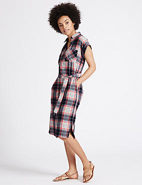 Pure Cotton Checked Midi Dress with Belt