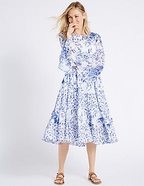 Pure Cotton Printed Flare Skater Midi Dress