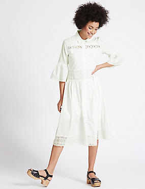Pure Cotton Lace Trim Flared Shirt Dress