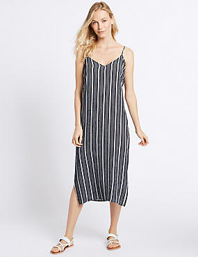 Striped Slip Midi Dress