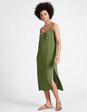 Side Split Slip Midi Dress