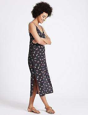Ditsy Print Slip Midi Dress