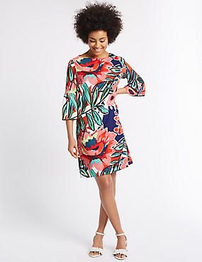 Floral Print Flared Sleeve Tunic Dress