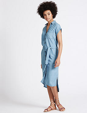 Turn-up Sleeve Shirt Dress with Belt