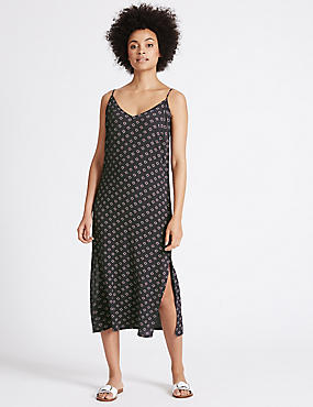 Geometric Print Slip Midi Dress