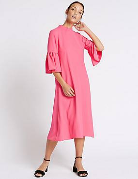 Tie Back Flared Sleeve Tunic Dress