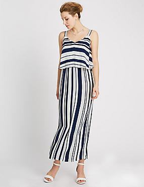 Double Layer Striped Maxi Dress
