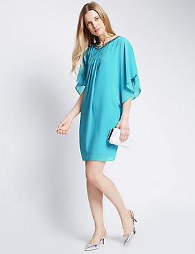 Embellished Neckline Tunic Dress