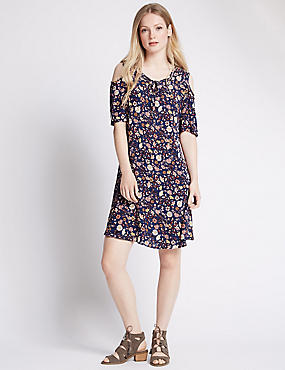 PETITE Cold Shoulder Floral Skater Dress