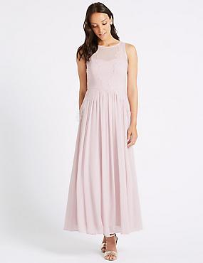 Lace Chiffon Maxi Dress  , PINK, catlanding