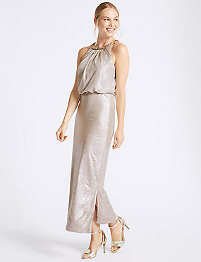 Sparkly Metallic Maxi Dress