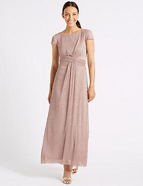 Sparkly Twist Detail Metallic Maxi Dress, PINK, catlanding